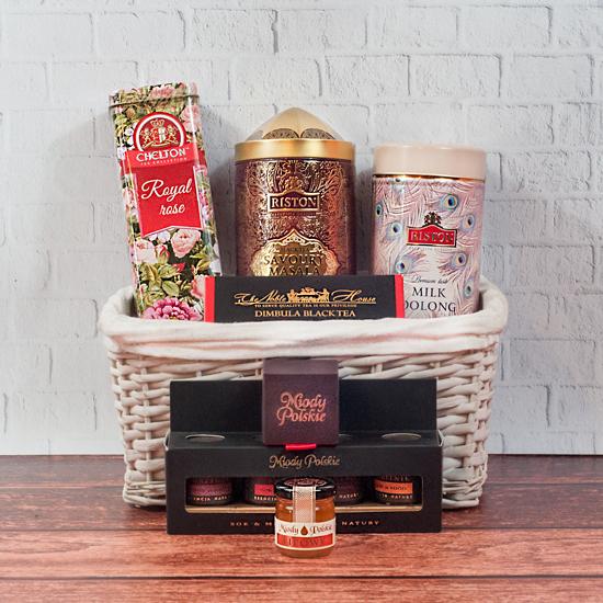 kosz prezentowy z herbatą Herbaciany Sen jako prezent dla każdego od Smakoszyków
