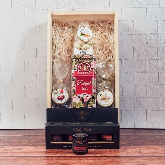 Skrzynka prezentowa z herbatą - Herbaciana Słodycz, prezent w drewnianej skrzynce od