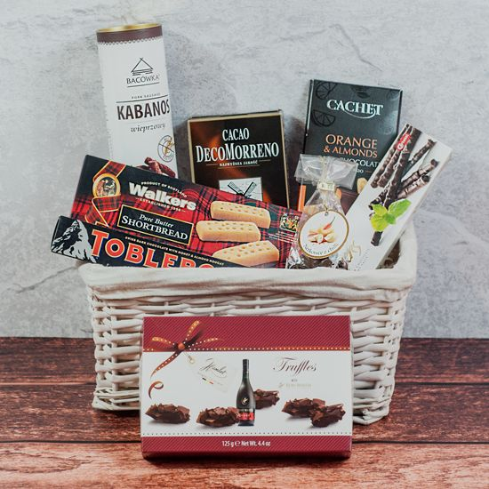 kosz prezentowy dla rodziców idealny jako upominek na każdą okazję pełen wyjątkowych produktów
